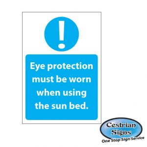 Eye protection must be worn sun bed Sticker