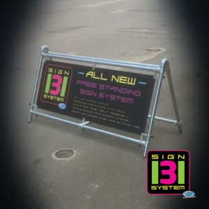 urban style metal banner stand