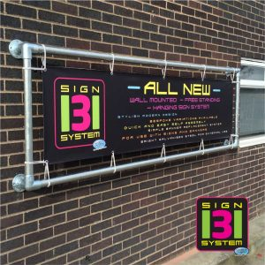 metal wall banner sign system
